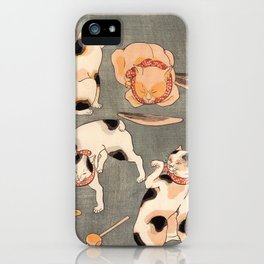 Four cats in different poses by Utagawa Kuniyoshi iPhone Case