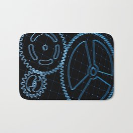 Set of blue gears and cogs on virtual screen Bath Mat