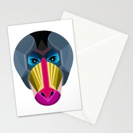 Male Mandrill Head Flat Icon Stationery Cards