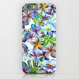 Rainbow Plumeria Pattern iPhone Case
