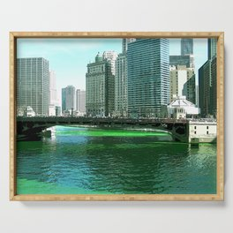 Chicago River on St. Patrick's Day #Chicago Serving Tray