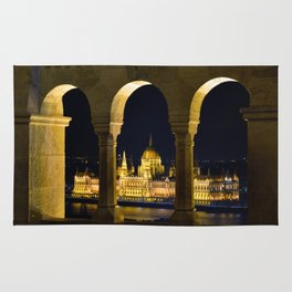 Hungarian Parliament through Fishermans bastion Rug