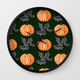 Pumpkin Deep Green Autumn Leaf Wall Clock