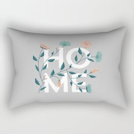 Home: grey floral with pastel flowers Rectangular Pillow
