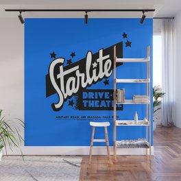 Starlite Drive-In Niagara Falls in Blue Wall Mural