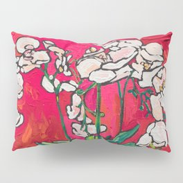 Orchid in Blue-and-white Bird Pot on Red after Matisse Pillow Sham