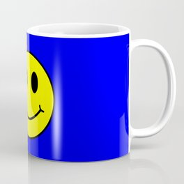 Smiley Happy in yellow color on a blue background - EFS162 Coffee Mug