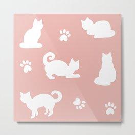 White Cats on Rose Gold Pattern Metal Print