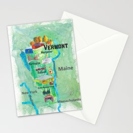 USA Vermont State Travel Poster Map with Touristic Highlights Stationery Cards