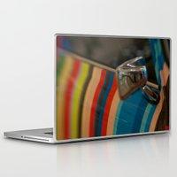 mini cooper Laptop & iPad Skins featuring Striped Mini Cooper by kendellvictoria