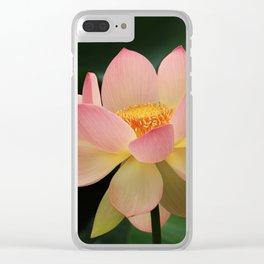 Peaceful Zen Garden Pink Lotus Floral Clear iPhone Case