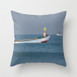 Fishing Boats North Goa Throw Pillow