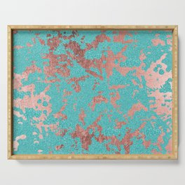Modern turquoise glitter faux rose gold marble Serving Tray