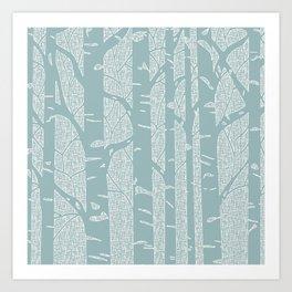 Birches (Blue) Art Print