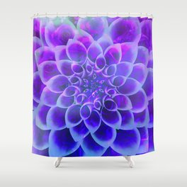 Mindfulness Purple-Pink and Blue Abstract Flower Shower Curtain