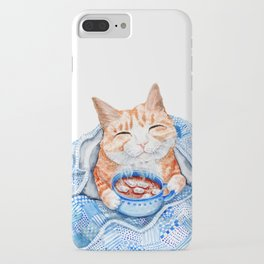 Happy Cat Drinking Hot Chocolate iPhone Case