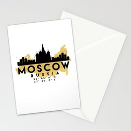 MOSCOW RUSSIA SILHOUETTE SKYLINE MAP ART Stationery Cards