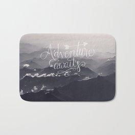 Adventure awaits Typography Gorgeous Mountain View Bath Mat