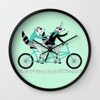 cycling Wall Clocks featuring Cycling Raccoons by Alyssa Nassner
