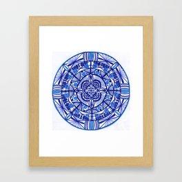 Sky blue mandala  Framed Art Print