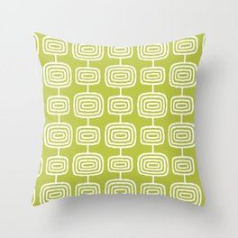 Mid Century Modern Atomic Rings Pattern Chartreuse Throw Pillow
