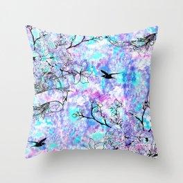 Vintage black bird flowers pink teal watercolor pattern Throw Pillow