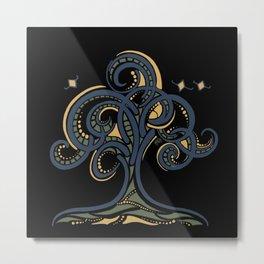 Dark Geometric Tree Metal Print