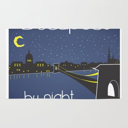 Budapest by night, poster, squared design Rug