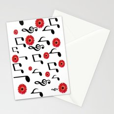 Musical Notes & Red Gerberas Stationery Cards