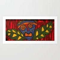 tiki Art Prints featuring Tiki by Shaylah Lukas Art