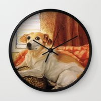 jack russell Wall Clocks featuring Jack Russell by Good Artitude