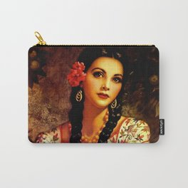 Jesus Helguera Painting of a Mexican Calendar Girl with Braids Carry-All Pouch