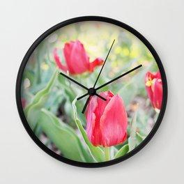 Happy Tulips Wall Clock