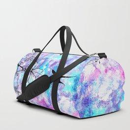 Vintage black bird flowers pink teal watercolor pattern Duffle Bag
