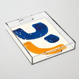 Minimalist Abstract Mid Century Modern Blue Yellow Shapes Fun Scandinavian Style Acrylic Tray
