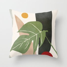 Abstract Monstera Leaf Throw Pillow