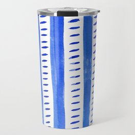Watercolor lines - blue Travel Mug