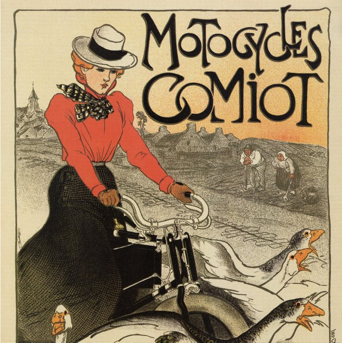 1899 vintage French motorcycle ad by Steinlen Duvet Cover