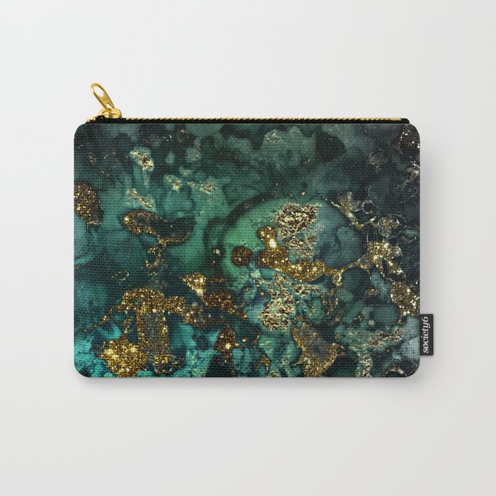 Gold Indigo Malachite Marble Carry-All Pouch