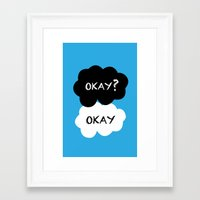tfios Framed Art Prints featuring TFIOS - Okay by //SOLIDS//