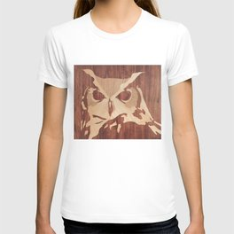 Owl marquetry art picture T-shirt