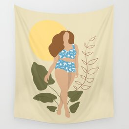Woman on the Beach Wall Tapestry