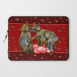 Kissing Chimpanzees Floating Hearts Laptop Sleeve
