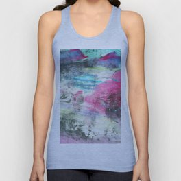 Grunge magenta teal hand painted watercolor Unisex Tank Top