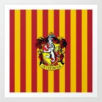 gryffindor Art Prints featuring Gryffindor - Hogwarts  by Kesen