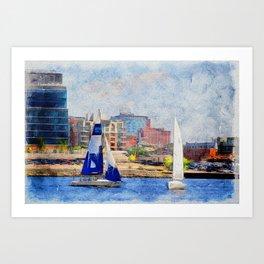 Sailing duel Inner Harbor Baltimore Art Print