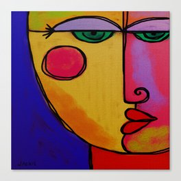 Colorful Abstract Face Digital Painting Canvas Print