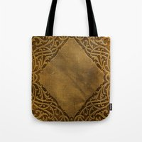 book cover Tote Bags featuring Vintage Ornamental Book Cover by Nicolas Raymond