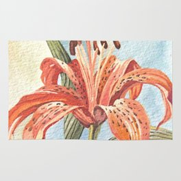 Orange Tiger Lily Watercolor Painting Rug