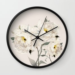 White Peonies Wall Clock
